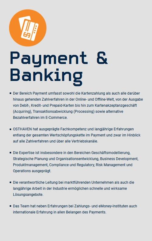 Unternehmensberatung Payment und Banking